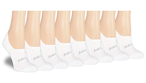 Saucony Women's Show Cushioned Invisible Liner Socks, White (8 Pairs), Shoe Size: 6-10