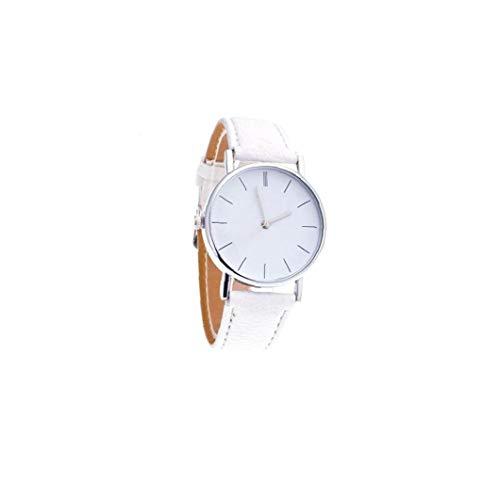 Sanfiyya Las Mujeres del Diamante de Ginebra Relojes de Cuarzo analógico Reloj de Manera Impermeable con Cuero Brazalete Diseño Retro del Reloj de Pulsera (Blanco)