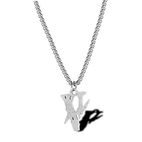 XIMAO Hip Straßen Disco Halskette Halskette Blitzzubehör Tide Marke Persönlichkeit Wilde Männer Titan Stahl AnhängerSilberfarbe(Kettenlänge Von 2,5 * 60Cm)