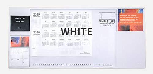 Alfombrilla de escritorio multifuncional de PVC transparente para oficina – Alfombrilla de ratón impermeable con bolsillos, alfombrilla organizadora de mesa, almohadilla protectora antideslizante, color blanco