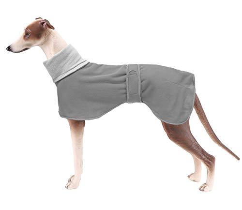 Windhund Kuscheliger Fleece-Pullover, Hunde-Wintermantel mit warmem Fleecefutter, Outdoor-Hundebekleidung mit verstellbaren Bändern für mittelgroße und große Hunde, Grau-M