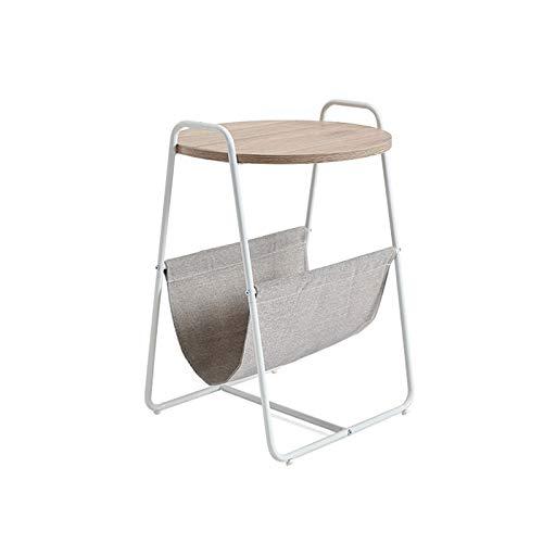 QINGZHUO Combinación Minimalista Moderna,Mesa Redonda de café con Cesta,mesita de Noche con Cesta de Almacenamiento de Tela,Mesa de Aperitivos.