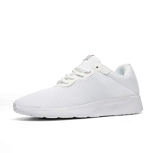 AONVOGE Mens Gym Running Shoes, Lightweight Breathable Mesh Casual Sports, Athletic Tennis Workout Walking Sneakers, All White, Size 7