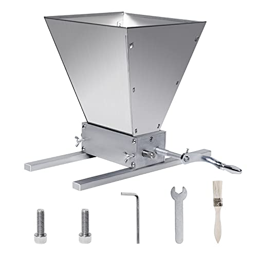 Manual Adjustable Barley Grinder, 2 Roller Malt Crusher Barley Crusher Grain Mill with Cleaning Brush, Use for Beer Brewing Grain Mill Homebrew Parts