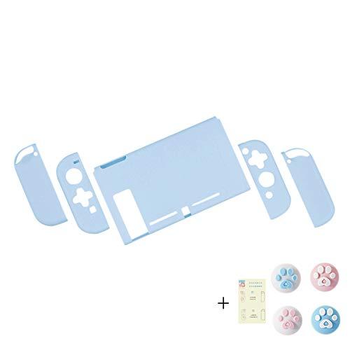 Nintendo Switch スイッチ ケース 分体式 カバー 薄型 Joy-Con用 ニンテンドースイッチ カバー 指紋防止 キズ防止 全面保護 ニンテンド ケース 親指キャップ*4 (色 : ブルー, サイズ : セット)