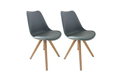 HOMEXPERTS 2 Stühle Modell KAJA / Edles 2er-Set Stühle mit Beinen in Eichen-Optik / Sitzschale grau mit Kunstleder Kissen