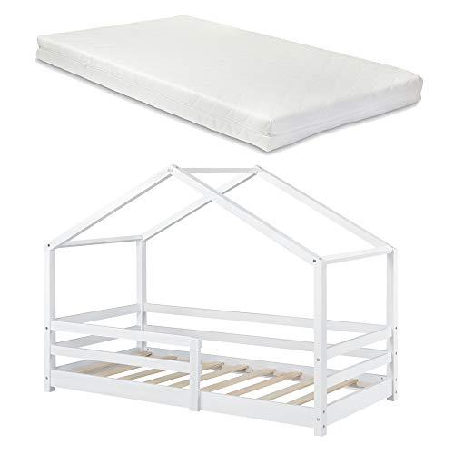 Kinderbett mit Matratze und Rausfallschutz 90x200cm Hausbett mit Kaltschaummatratze Bettenhaus mit Lattenrost Kiefernholz Einzelbett Weiß