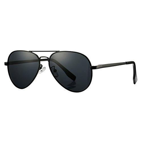 Polarized Aviator Sunglasses for Juniors Small Face Women Men Vintage UV400 Protection Shades(Black Frame/Black Lens)