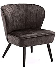 Duhome Stoel van stof, fluweel, gestoffeerde stoel, vintage design, beklede stoel, metalen poten 8103B