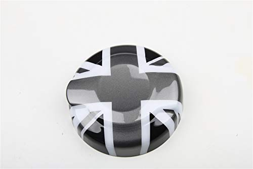 HDX Gray/Black Union Jack UK Flag ABS Sticker Cover Trim Cap for Mini Cooper ONE S JCW F Series F55 Hardtop F56 Hatchback F57 Covertible 2016+ (2.0T Gas Tank Door Fuel Cap Type B)