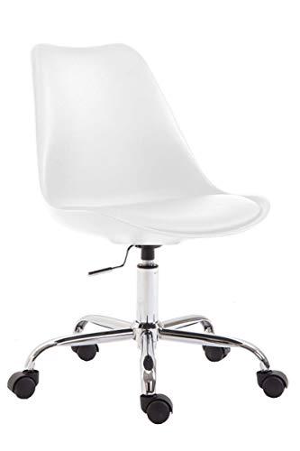 CLP Bürostuhl Toulouse I Schreibtischstuhl Mit Laufrollen I Drehstuhl Mit Metallgestell Und Sitzschale Aus Kunststoff, Farbe:weiß