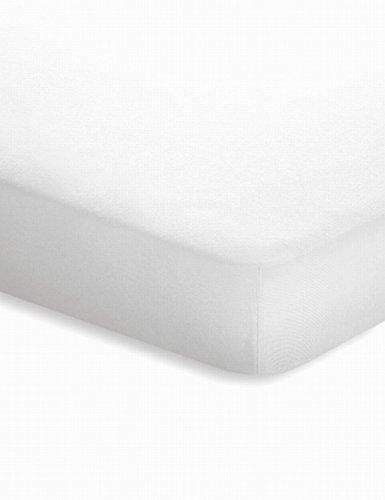 schlafgut Jersey-Elasthan Topper Spannbetttuch, Baumwoll-Mischgewebe, Weiss, 220 x 200 cm
