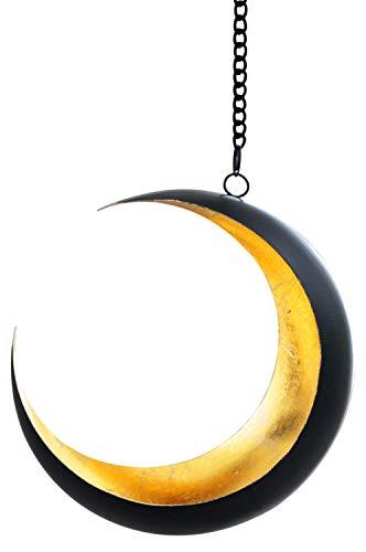 Orientalisches Windlicht Hängewindlicht Metall Qamar 20 cm groß | Orientalische Teelichthalter Schwarz von außen und Gold innen | Marokkanische Windlichter hängend als Hängewindlichter