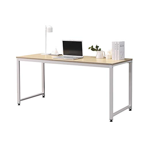 SOFSYS 63' Computer Writing Desk Workstation Table Home Office Design for Video Gaming, Designers and Entrepreneurs, Large Desktop with Sturdy Metal Frame, Oak/White