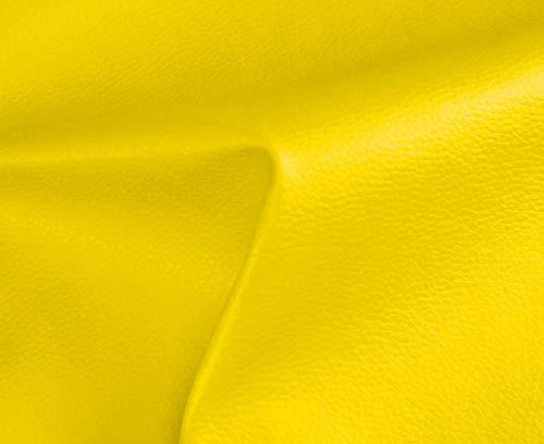 0,50 Metros de Polipiel para tapizar, Manualidades, Cojines o forrar Objetos. Venta de Polipiel por Metros. Diseño Solar Color Amarillo Ancho 140cm