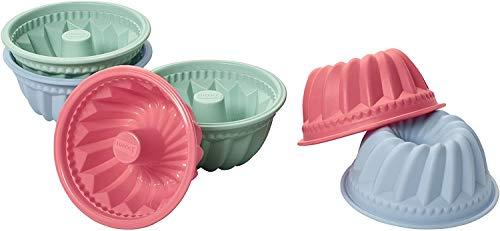 Lurch 83018 FlexiForm Mini Gugelhupf 6-er Set / Backförmchen aus 100% BPA-freiem Platin Silikon, ø˜ 7cm, , mehrfarbig