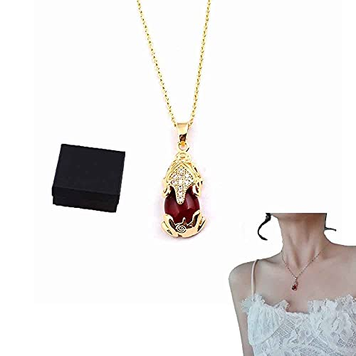 XFSSFWB Collares de Cristal de cornalina para Mujer, Collar de Zorro de Cristal, Piedra de Cristal de Forma Redonda, Collar de Piedras Preciosas de cornalina Real, Regalo de joyería para Unisex