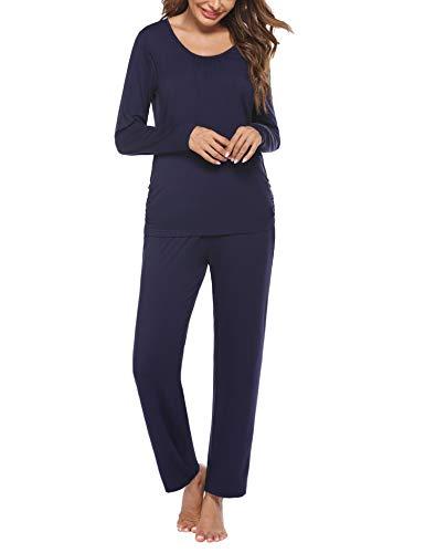 UnibelleDamenStillpyjamaUmstandspyjamaSchlafanzugZweiteiligHausanzugPyjamasKurzÄrmelRund-AusschnittLoungewearSleepwearNB_XL