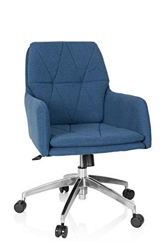 hjh OFFICE 670948 Silla giratoria Shake 350 Tela Azul Oscuro Silla de Oficina cómoda Buen Acolchado