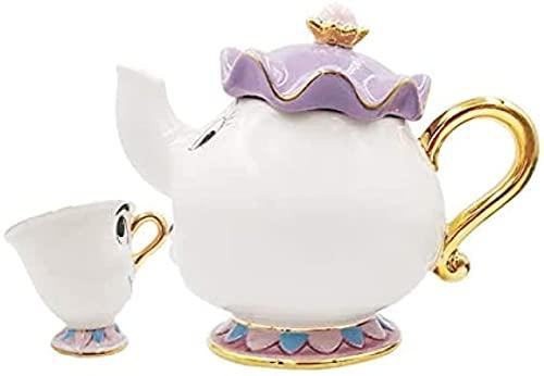 ZLYY 021 New Cartoon Beauty and Beast - Juego de tetera y taza con texto 'Mrs. chip, tetera y taza