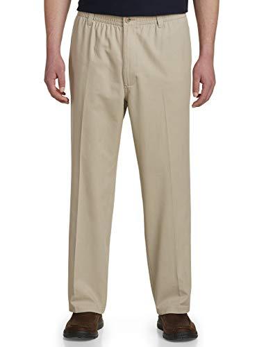 Harbor Bay by DXL Big and Tall Elastic-Waist Pants, Khaki, 3XR 28