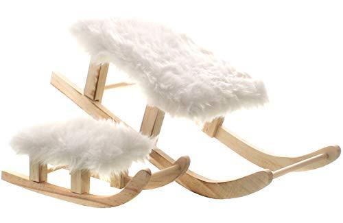 dekojohnson Deko-Schlitten aus Holz mit Blüschfell EIN Stück Weihnachtsdeko Nostalgie-Deko Natur Farben weiß 20x8,5x6cm
