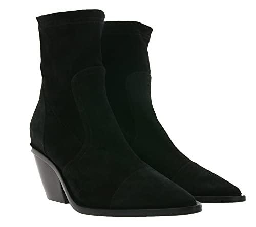 AGL Attilio Giusti Cowboy-Stiefeletten komfortable Damen Echtleder Designer-Stiefel Schuhe Freizeit Schwarz, Größe:39