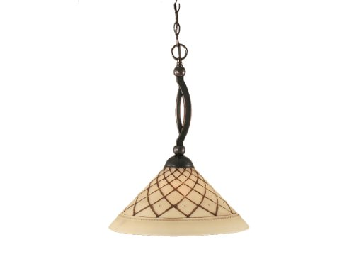 Toltec Lighting 271-BC-718 Bow One-Light Down light Pendant Black Copper Finish with Chocolate Icing Glass, 16-Inch