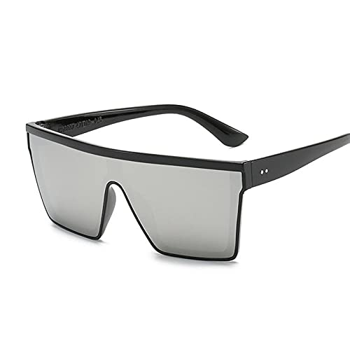 DLSM Plaza de Gran tamaño Vintage Gafas de Sol Vintage Hombre Mujer Gradiente Retro Espejo de Cristal Adecuado para Conducir al Aire Libre Deportes Golf-Plata Negra