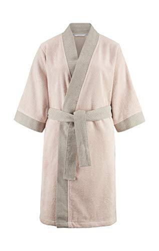 hessnatur Kimono-Bademantel aus Bio-Baumwolle Puder S