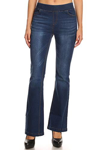 Jvini Women's High Waisted Pull-On Stretch Denim Curvy Bootcut Jeans (XXX-Large, Blue)
