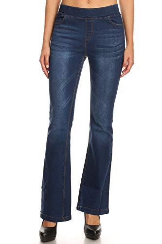 Jvini Women's Pull-On Stretchy Slim Casual Bootcut Denim Flare Pants Blue Medium