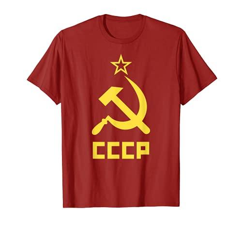 Camiseta de manga corta con diseño de martillo y hoz de la URSS CCCP Camiseta