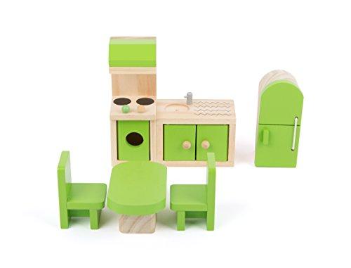 Small Foot 10873 Puppenmöbel aus Holz für die Küche im Puppenhaus, inkl. Kühlschrank, Küchenzeile, Tisch und Stühlen, geeignet für Biegepüppchen, ideales Puppenzubehör für Kinder ab 3 Jahren