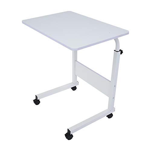 Computer Desk for Small Spaces, Laptop Stand Desk Card Slot Stand Desk Workstation Height Adjustable Desk Portable Side Table for Bed Sofa Hospital Nursing Reading Eating with Movable Wheel 60 x 40 cm