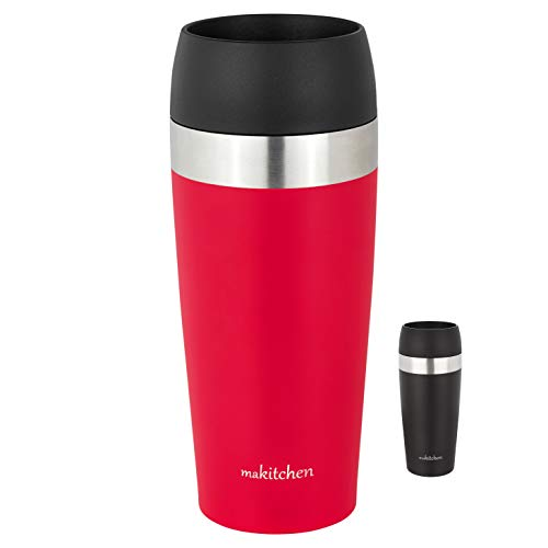 makitchen Thermo-Becher Isolier-Becher Kaffeebecher to go - 420ml 100% Auslaufsicher - Trinkbecher aus Edelstahl - Autobecher doppelwand Isolierung - Thermo Becher - Travel Mug (Rot)