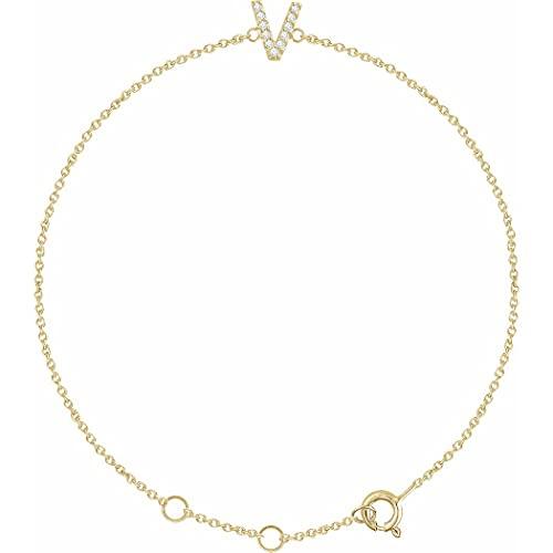 Pulsera de oro amarillo de 14 quilates con nombre de letra personalizada, monograma inicial en V, pulido de 05 quilates, con 6 iniciales, regalo para mujeres, 18 cm