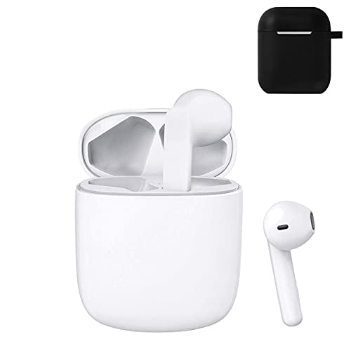 Wireless Earbuds, TWS Bluetooth Headphones Stereo Sound Earphones,【with airpod Protective Cover】 IPX5 Waterproof Sport Earbuds Built-in Binaural Mic AirBuds for Work/Travel/Gym Ear Buds
