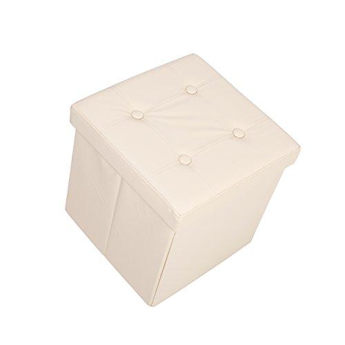 Lyndan-Musha Crema ottomano Pouf Poggiapiedi Contenitore in Ecopelle Sedia Sgabello singolo pieghevole contenitore Bambini Toy Box poggiapiedi coperta fogli asciugamani petto (38x 38x 38cm)