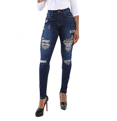 Mibuy Pantalones Jeans Rotos Vaquero Skinny Push Up Pantalones Elástico, Pantalones De Cintura Alta Denim Pants Sexy Pantalones Lápiz Pantalones De Mezclilla Casual 2020 Leggings Azul,M