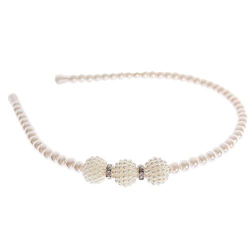 JUSTFOX Serre-tête perles strass mariage communion bijoux cheveux blanc
