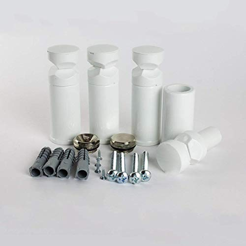 Universele houders voor verwarmde handdoekstangen, voor rechte en gebogen modellen, wit