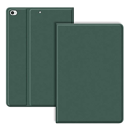 VAGHVEO iPad 9.7 inch 2017/2018 Case/iPad Air/Air 2 Cover, PU Leather Shockproof Smart Cases Shell Adjust Stand [Auto Wake/Sleep], Flexible Soft TPU Protective Back Cover for iPad 5th/6th, Dark Green