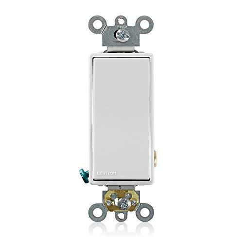 Leviton 5691-2W 15 Amp, 120/277 Volt, Decora Plus Rocker Single-Pole AC Quiet Switch, Commercial Grade, White