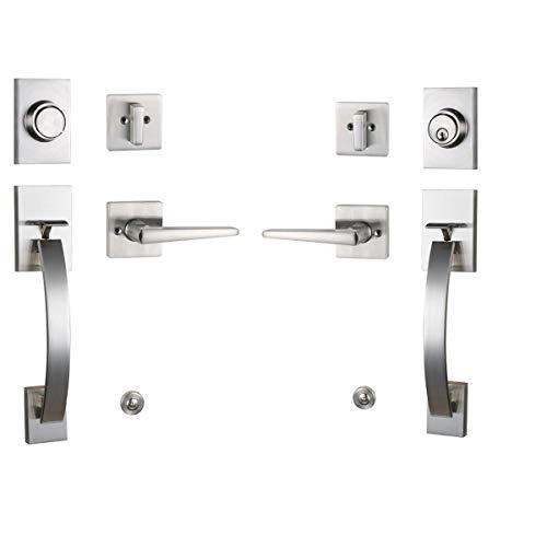 Front Entry Door Handleset Modish (Keyed&Dummy Handleset, Satin Nickel)