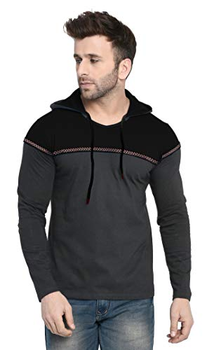 Fenoix Men's Cotton T-Shirt Hooded Peacock