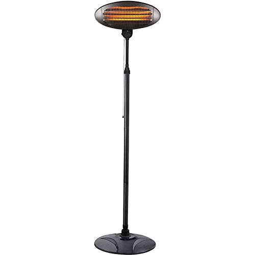 2kW IPX4 Outdoor Freestanding Electric Quartz Bulb Patio Heater - 3 Power Settings-A