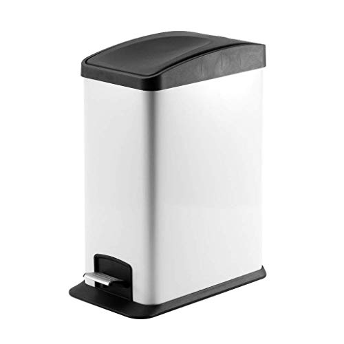 Stainless Steel Trash Can Bathroom Kitchen Bathroom Living Room Toilet (Color : White)