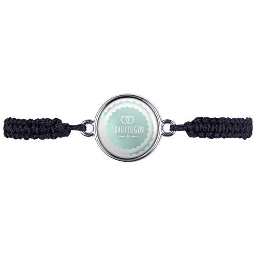 Mylery Armband mit Motiv Trau-Zeugin Ringe Türkis Silber 16mm