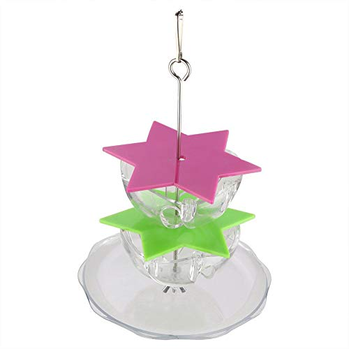 HEEPDD Bird Chewing Toy, Acrylic Hexagonal Star Multi Layer Food Bowl Foraging Toy Parrots Climbing Bite Feeder for Parakeet Macaw African Grey Cockatoo Lovebird Finch(Double Layers + Fruit Plate)